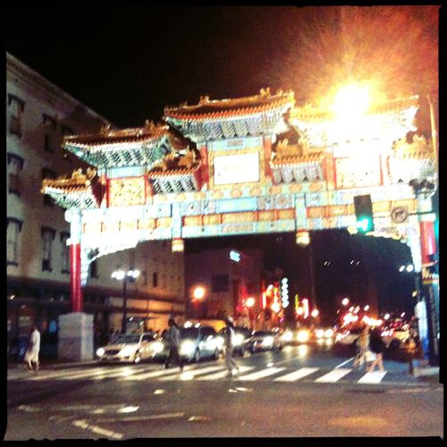 Walking around at Chinatown Arch No Flash Blanko Noir Film Walking Around