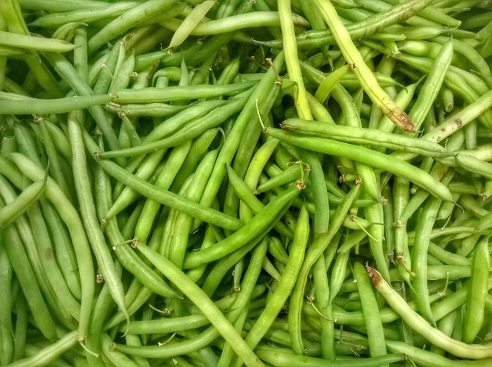 Full Frame Shot Of Green Beans At Market