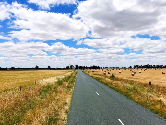 Sky Road Cloud - Sky Landscape The Way Forward Scenics Nature Grass Transportation Day Tranquil Scene Tree Field Outdoors Rural Scene Tranquility No People Beauty In Nature