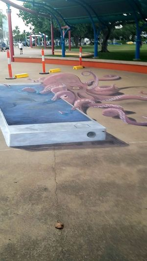 3D painting of an octopus and a phone.. Street Art Painting Hello World Townsville, Queensland.