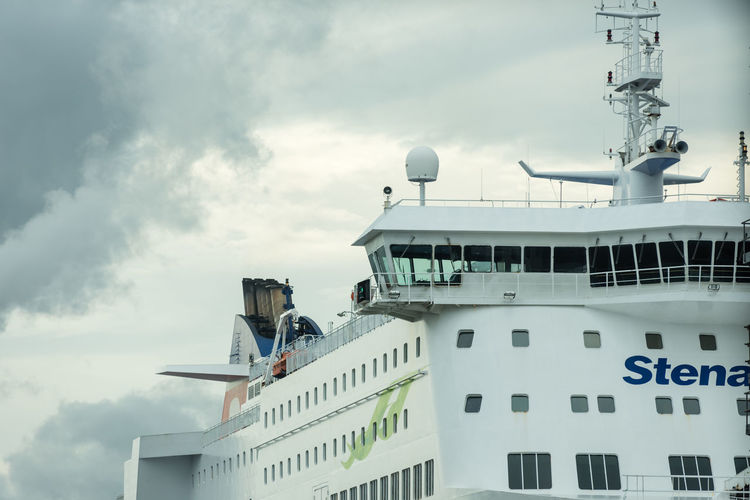 Close up of the cabin and upper decks of a large car and truck ferry for Dublin to Holyhead. Ferry Transportation Boat Cloud - Sky Day Ferry Port Low Angle View Nautical Vessel No People Outdoors Port Radar Sea Going Seafairing Ship Sky Vessel