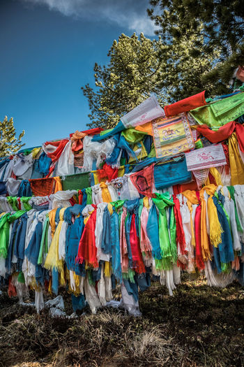 Mongolia Multi Colored Sky Hanging Day Nature Plant No People Textile Tree Clothing Laundry Land Outdoors Low Angle View Large Group Of Objects Variation Drying Choice Sunlight Field