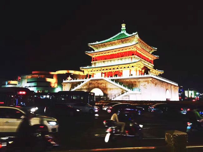 Xi'an Night Architecture Built Structure Building Exterior Illuminated Cultures City City Street History Street City Life Outdoors Travel Destinations People Cityscape Sky Large Group Of People Popular Music Concert