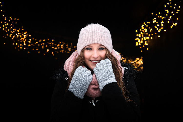 Bavarian Forest, a journey to remember 🎇 Lights Night Lights Winter Beautiful Woman Beauty Black Background Focus On Foreground Germany Happiness Illuminated Light And Shadow Lights In The Dark Model One Person One Woman Only People People Photography Photography Portrait Smiling Warm Clothing Winter Young Women
