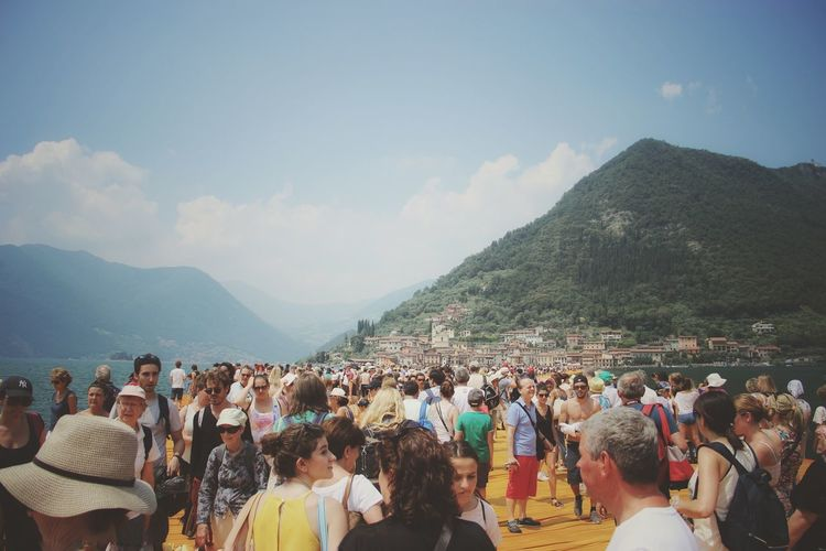 Walking on the Floating piers | Feel The Journey Golden Moments  Sunshine Point Of View Christo And The Floating Piers Close-up The Essence Of Summer Getting Inspired The Floating Piers People Original Experiences Showcase July Lago D'Iseo EyeEm Italy |