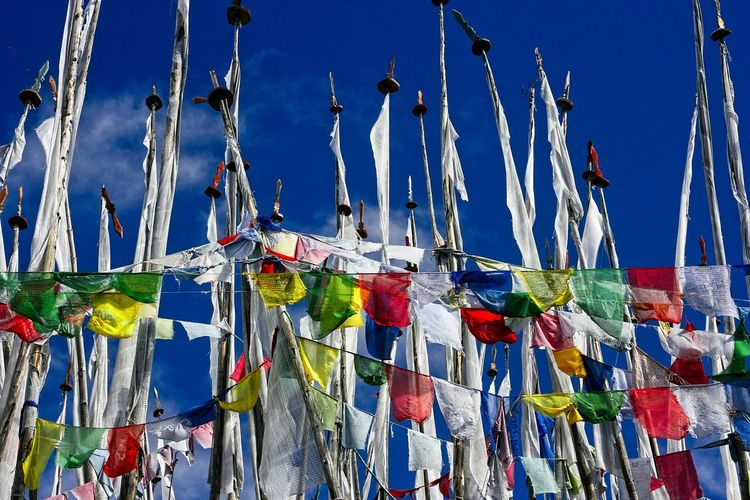 Low angle view of multi colored prayer flags hanging against blue sky