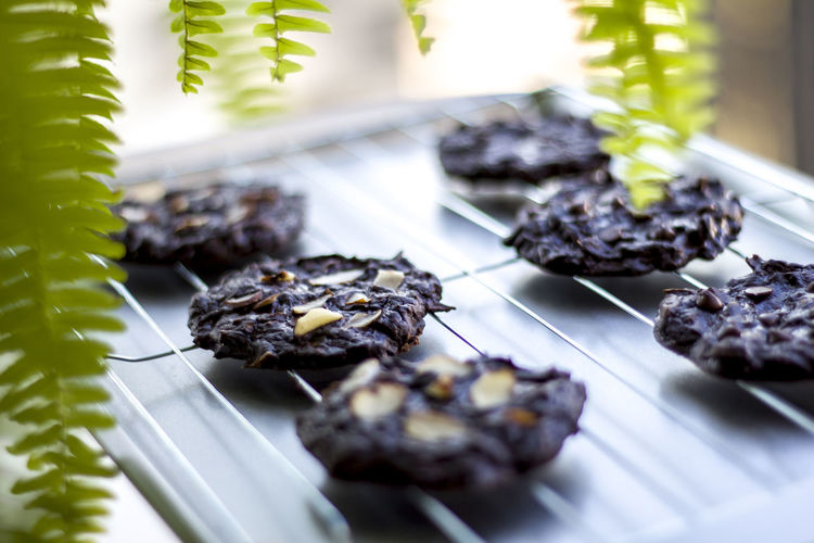 Close-up of cookies on a grill