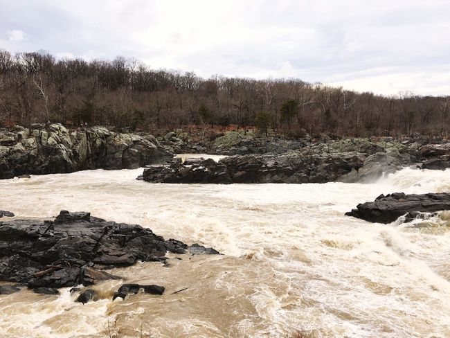 Great falls at Potomac River Maryland Great Falls Potomac Sky Nature Day No People Tranquility Tree Landscape Outdoors Cloud - Sky Water Winter Scenics Beauty In Nature Cold Temperature