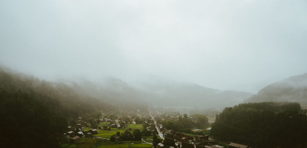 Shirakawa Raining Day Agriculture Beauty In Nature Cloud - Sky Day Fog Forest Growth Idyllic Landscape Lush - Description Mountain Nature No People Outdoors Plant Scenics Sky Tea Crop Tranquil Scene Tranquility Tree