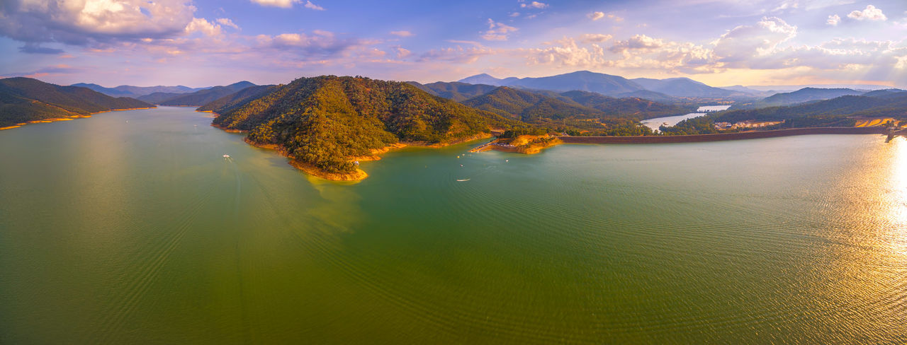 Large aerial scenic panorama of Lake Eildon dam at beautiful sunset Australia Australian Landscape Beautiful Drone  Goulburn River Panorama Panoramic Scenic Aerial Aerial Landscape Aerial View Beauty In Nature Cloud - Sky Countryside Dam Day Drone Photography Eildon Lake Lake Eildon Landscape Melbourne Mountain Mountain Range Mountains Nature No People Outdoors River Scenics Sky Tranquil Scene Tranquility Water Waterfront