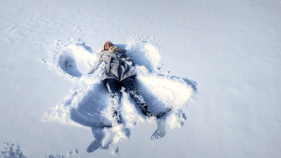 One Person People Nature Close-up Wintertime Winterscapes Winter Snow Snowangel Happy