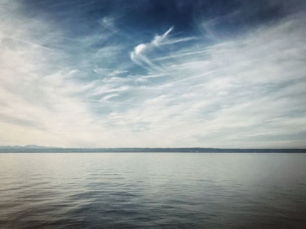 Sky Scenics Tranquility Nature Beauty In Nature Tranquil Scene No People Cloud - Sky Water Outdoors Day Sea Waterfront Horizon Over Water Vapor Trail Lake Relaxing Chillout EyeEm Nature Lover