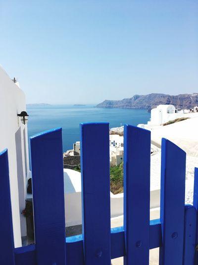Santorini Greece Blue Tor Ocean Ausblick Wonderful White Vulkaninsel Insel Sun Hot Day Tourism Travel Destinations