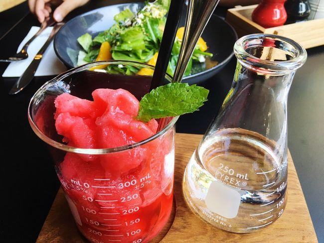 vegan lover Blended Watermelon Drinks Red Green Salad Time Syrup Test Tubes Clean Food Organic Food Vegies