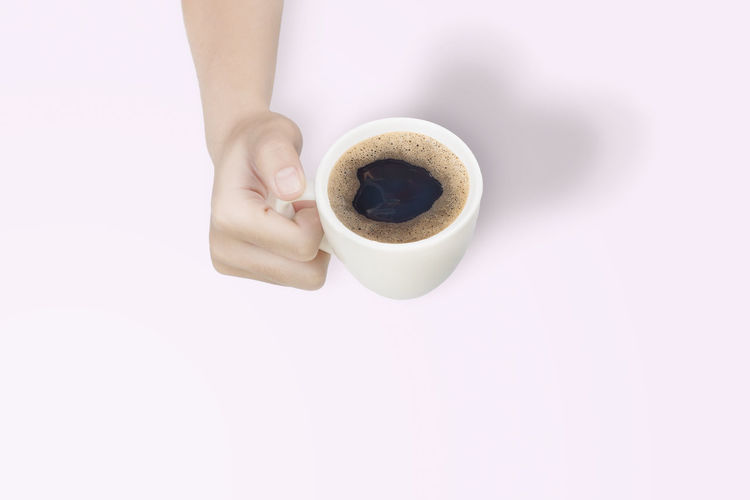 Directly above shot of woman holding coffee cup