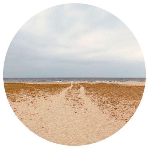 circle Sky Land Sea Water Beach Horizon Horizon Over Water Sand Nature Scenics - Nature Circle Geometric Shape Tranquil Scene Cloud - Sky