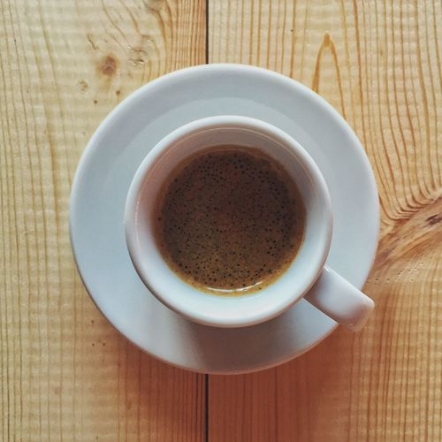 Espresso Coffee On Wooden Table