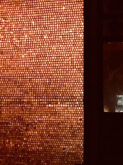 Interior Design Glimmering Gold Colored Mosaic Art No People Indoors  Pattern Close-up Textured  Architecture Built Structure Backgrounds Illuminated Wall Full Frame Design Orange Color Wall - Building Feature