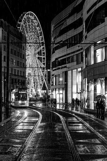 Düsseldorf, Germany Architecture Blackandwhite City Duesseldorf Düsseldorf Ferris Wheel Germany Illuminated Kö-Bogen Köbogen Night NRW Outdoors Railroad Track Schwarzweiß Transportation Black And White Friday