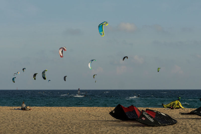 Kitesurfers in