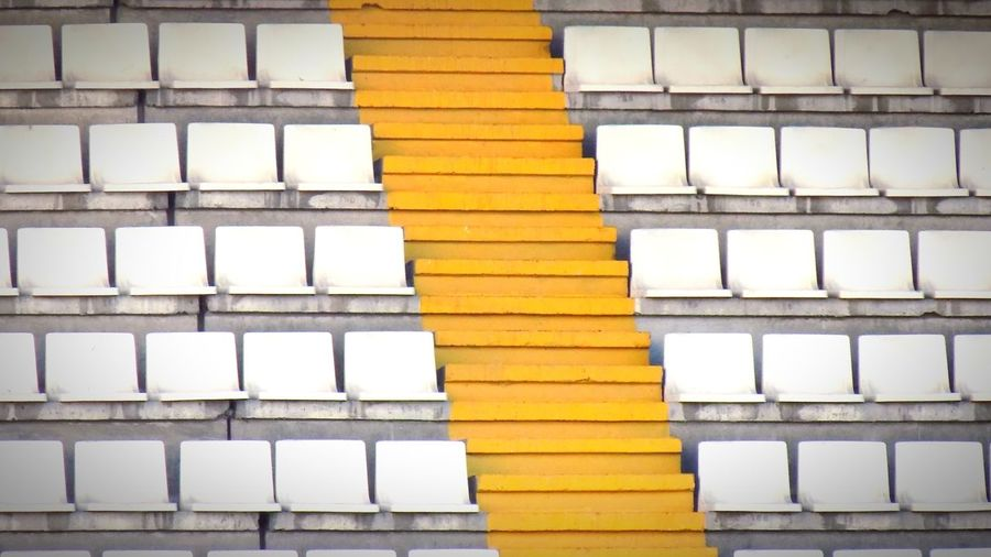 Stack Architecture Built Structure City Day Outdoors Paint The Town Yellow No People Seating Area Seatings Football Stadium Football Fever Football Season Steps Steps And Staircases