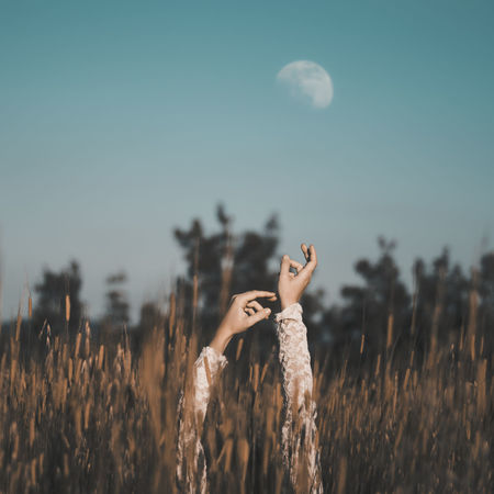 Enkir Moon Field Country Hands Up Arms Raised Arms Up Summertime Beautiful Nature EyeEm Nature Lover Nature_collection Countryside Folk Hippie Folkgood Lace Dress Old-fashioned Happy Time Lifestyle Outdoors Fieldscape Silence Peaceful Place Human Hand Summer Beauty Sky Ear Of Wheat Wheat A New Perspective On Life