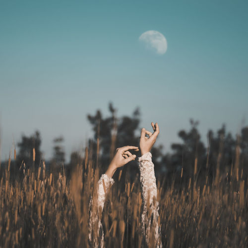 Enkir Moon Field Country Hands Up Arms Raised Arms Up Summertime Beautiful Nature EyeEm Nature Lover Nature_collection Countryside Folk Hippie Folkgood Lace Dress Old-fashioned Happy Time Lifestyle Outdoors Fieldscape Silence Peaceful Place Human Hand Summer Beauty Sky Ear Of Wheat Wheat A New Perspective On Life My Best Photo