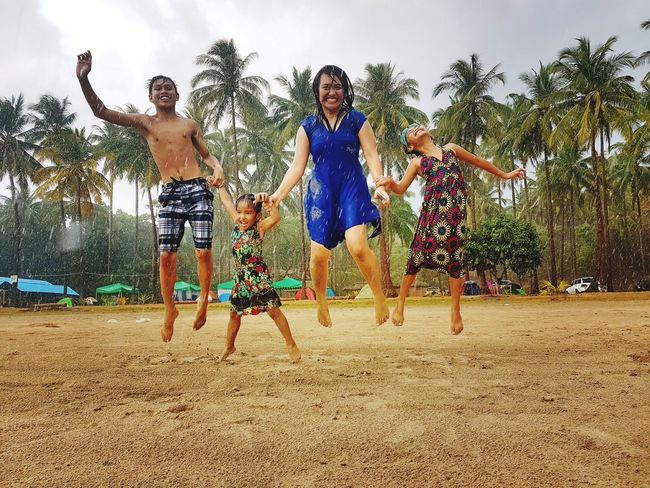 Fun Motion Wet Jumping Togetherness Rainy Days