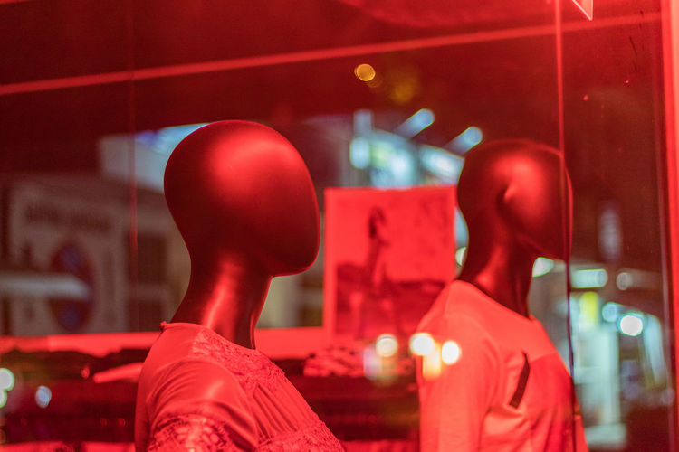 Mannequins under the red light Night Mannequin Street Red Light Shop Street Photography Illumination Exposed Expo Réflexion Red Mannequins Reflexions Illuminated HEAD Lights Light Female Mannequin Red Lights Male Mannequin Clothes Light Reflexions Mannequin Head Glass Glass Reflexion Store No Face Indoors  Representation Focus On Foreground Human Representation Window Glass - Material Transparent No People Retail  Close-up Reflection Store Window Retail Display Rear View Business Neon neon life Neon Lights Neon Colored