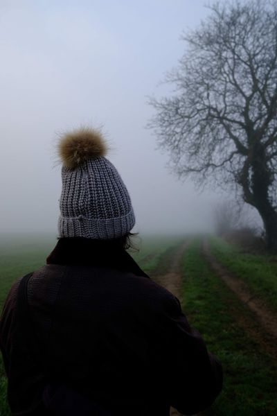 Fog Human Back Rear View Countryside Foggy Bare Tree Branch Tree Trunk Cold Scenics Back