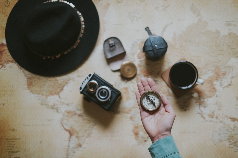 Human Hand Indoors  High Angle View Directly Above One Person Holding Camera - Photographic Equipment Old Personal Perspective Antique Compass Travel Direction Old Camera Vintage Hat Adventure Coffee Lifestyles