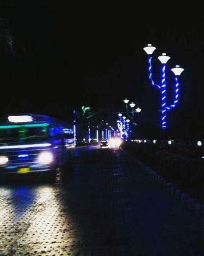 Night Illuminated Street Car Outdoors City Nightlife