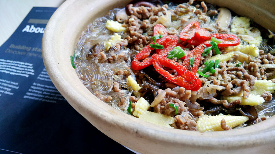 Close-Up Of Beef Noodles Soup In Bowl On Table