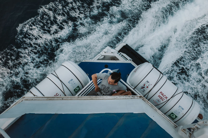 Real People Nautical Vessel Water Transportation Leisure Activity Nature Motion Two People Mode Of Transportation Men Lifestyles Sea People Day Outdoors Togetherness Travel Adult High Angle View Cruise Ship Ferry