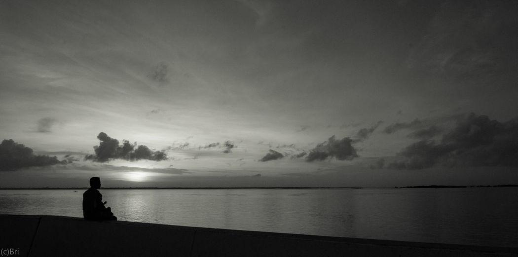Sea Cloud - Sky Silhouette Landscape Outdoors People Dawn Sonya6000 Blackandwhite