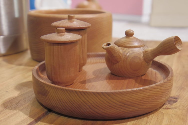 Wooden Tea Set On Table At Home