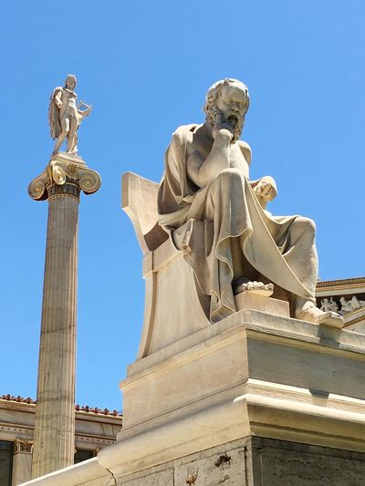 Apollo and Socrates Statue History Sculpture Architecture Travel Destinations Outdoors Blue Clear Sky City Built Structure Sócrates Apollo Greek Athens EyeEmNewHere