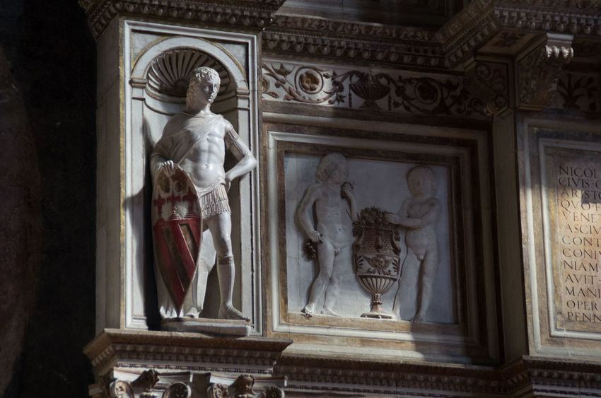 A Architecture Art And Craft Building Exterior Built Structure Church Church Of The Brothers Day Europe Human Representation Italy Low Angle View Male Likeness No People Outdoors Renaisa Santa Maria Gloriosa Dei Frari Sculpture Spirituality Statue Venice Venice, Italy