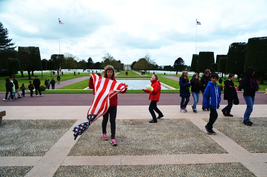 70's Anniversary Amerian Flag Celebrating Cimetiere Ameriain Commemorative Photo Day Kids Normandy Outdoors Proud To Be An American Real People Togetherness