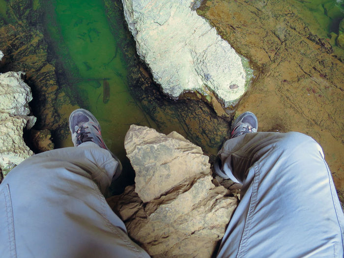 Adult Cave Close-up Day Laos Legs Leisure Activity Lifestyles Looking Down Low Section Men Nature One Person Outdoors People Personal Perspective Real People Shoe Water