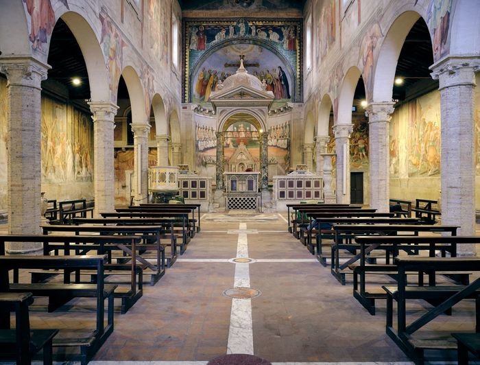 Basilica di SS. Nereo e Achilleo Architecture No People Mural Built Structure Arch Religion Place Of Worship Belief Spirituality Building Seat Pew Indoors  Bench Day Art And Craft Altar Architectural Column Aisle