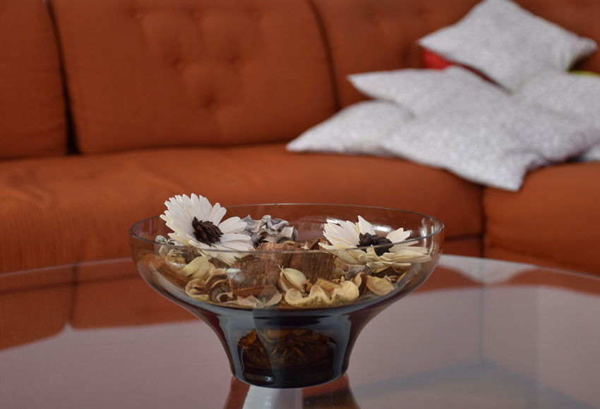 Pillow Reflection Bowl Close-up Dry Flower  Flowers Focus On Foreground Furniture Glass Indoors  No People Plant Sofa Still Life Table White Color