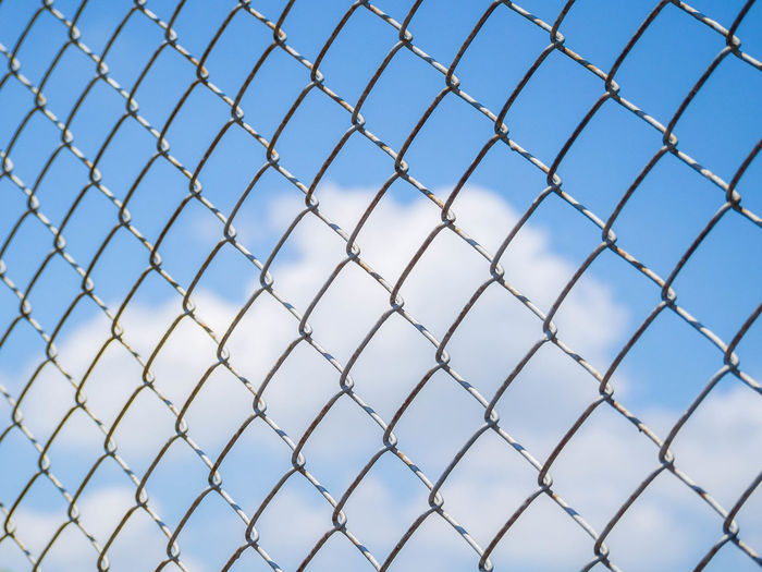 Backgrounds Barrier Blue Boundary Chainlink Fence Clear Sky Close-up Day Fence Full Frame Metal Nature No People Pattern Protection Safety Security Sky Wire Wire Mesh