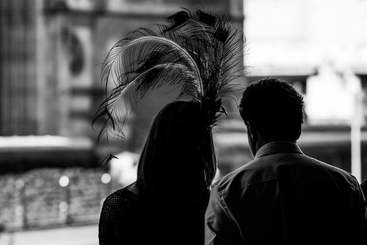 Melbourne Cup Day 2008 Real People Women Focus On Foreground Rear View Leisure Activity Lifestyles Headshot Portrait Day Feather Hat Feather  Hat Hats Silhouette Melbourne Cup Fancy Fancy Dress Blackandwhite Black And White Black & White Streetphotography Streetphoto_bw Street Photography Australia Australian
