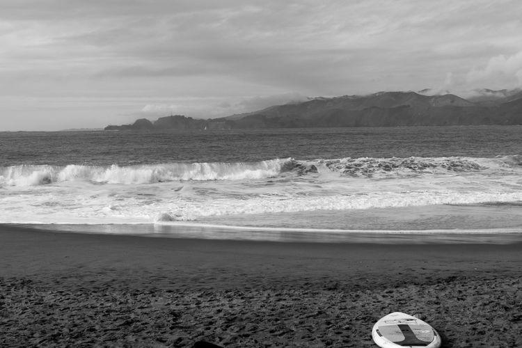 Baker Beach Aquatic Sport Baker Beach Beach Beauty In Nature Blackandwhite Cloud - Sky Day Dusk Horizon Land Motion Nature Outdoors People Sand Scenics - Nature Sea Sky Sport Surfboard Surfing Tranquil Scene Water Wave