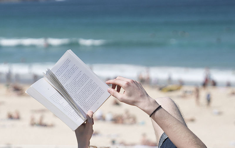 Low angle view of hand holding book at beach