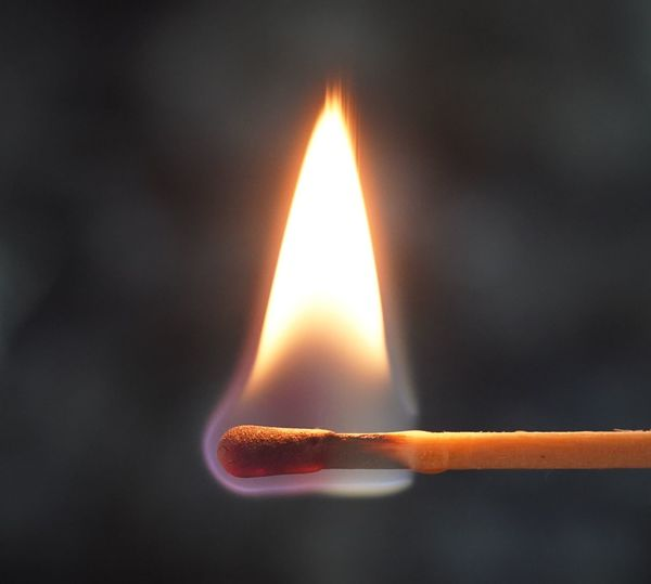 Burning Heat - Temperature Flame Fire Fire - Natural Phenomenon Studio Shot Close-up Indoors  No People Glowing Matchstick Illuminated Black Background Nature Single Object Match - Lighting Equipment Igniting Warning Sign Fuel And Power Generation Motion Brightly Lit Inferno