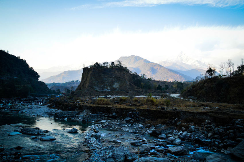 Early Morning Sky Fog Travel Tourism Nepal Travel Photography Pokhara, Nepal Light And Shadow Mountain Range Annapurna Mountain Range River In The Mountains Cold Temperature Cloud - Sky Life In The Countryside Nepal Winter Beauty In Nature