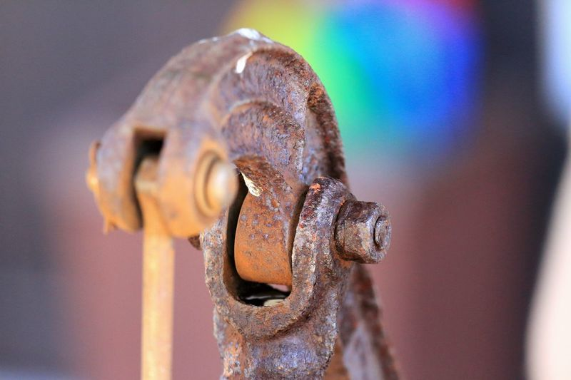 Close-up of rusty water pump