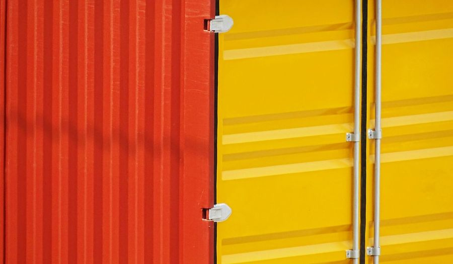 Yellow Metal Outdoors Hinge Building Exterior Full Frame Red Day New Delhi Pattern India Container Metal Container Dual Colors Paint Glossy Paint EyeEm Selects